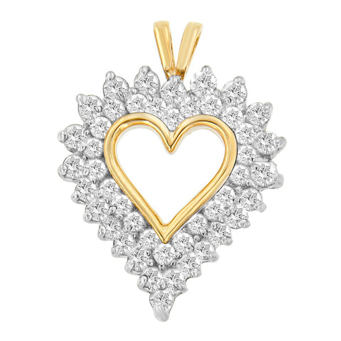 10k Yellow Gold 2 CTTW Round Cut Diamond Open Heart Pendant Necklace (I-J, I2-I3)