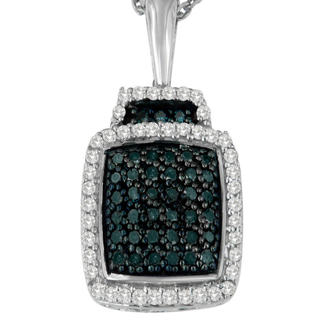 Sterling Silver 0.5 ct TDW White and Treated Blue Diamond Pendant Necklace (I-J, I1-I2)