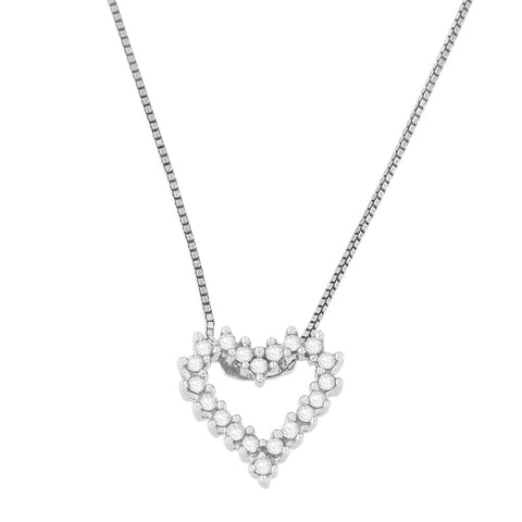 14K White Gold 0.2 CTTW Princess Cut Diamond Shimmering Love Heart Pendant Necklace (H-I, SI2-I1)