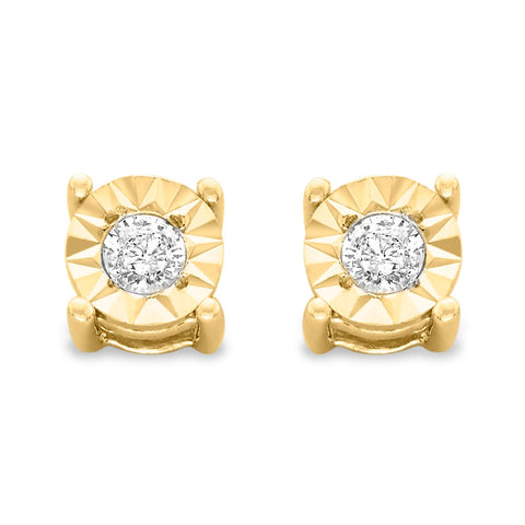 10k Yellow-Gold Plated Sterling Silver Round-Cut Diamond Stud Earrings