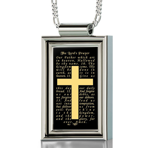 """The Lord's Prayer"" KJ Version, 925 Sterling Silver Necklace, Onyx"