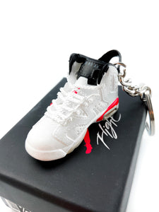 Mini Air Jordan 6 (VI) Original  OG White / Infra Red Replica Keychain
