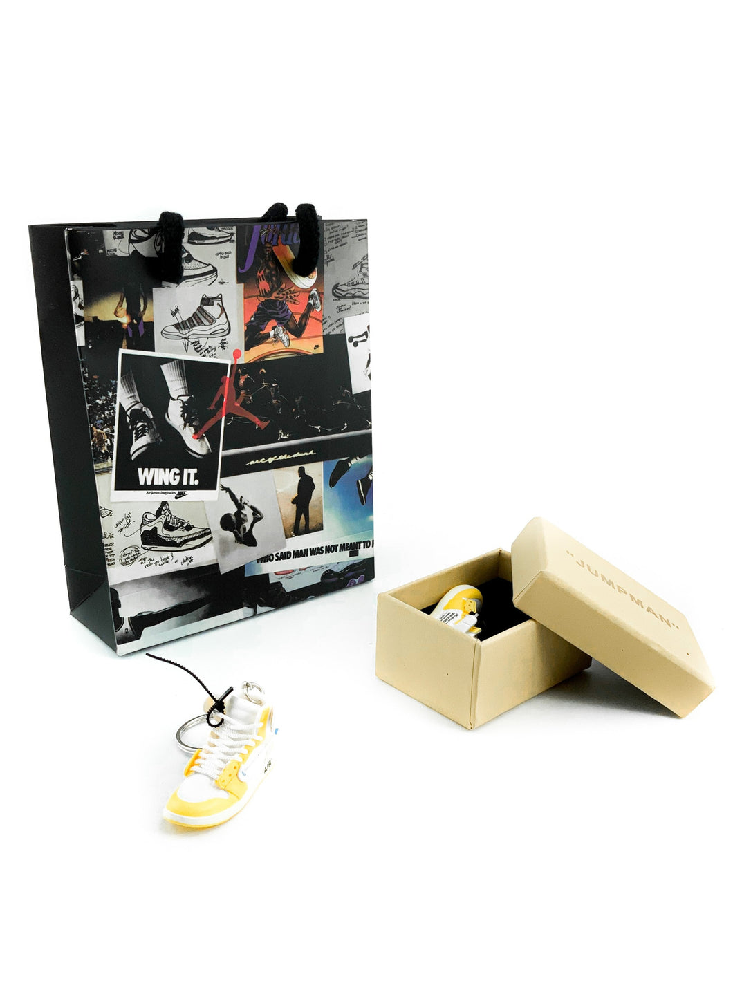 Mini Off-White™ x Air Jordan 1 Retro High Canary Yellow Replica Keychain