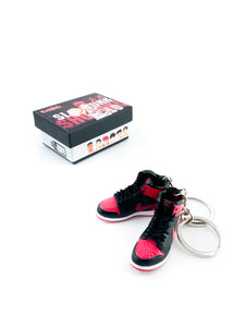Mini Slam Dunk X Air Jordan 1 Bred Custom|Off- White Offspring Replica Keychain