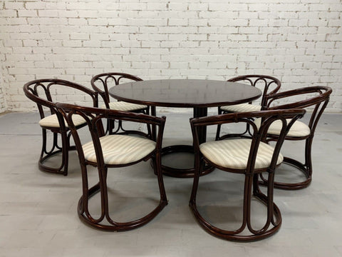 Italian Vintage Dining Table and 6 Bamboo Dining Chairs 1980s