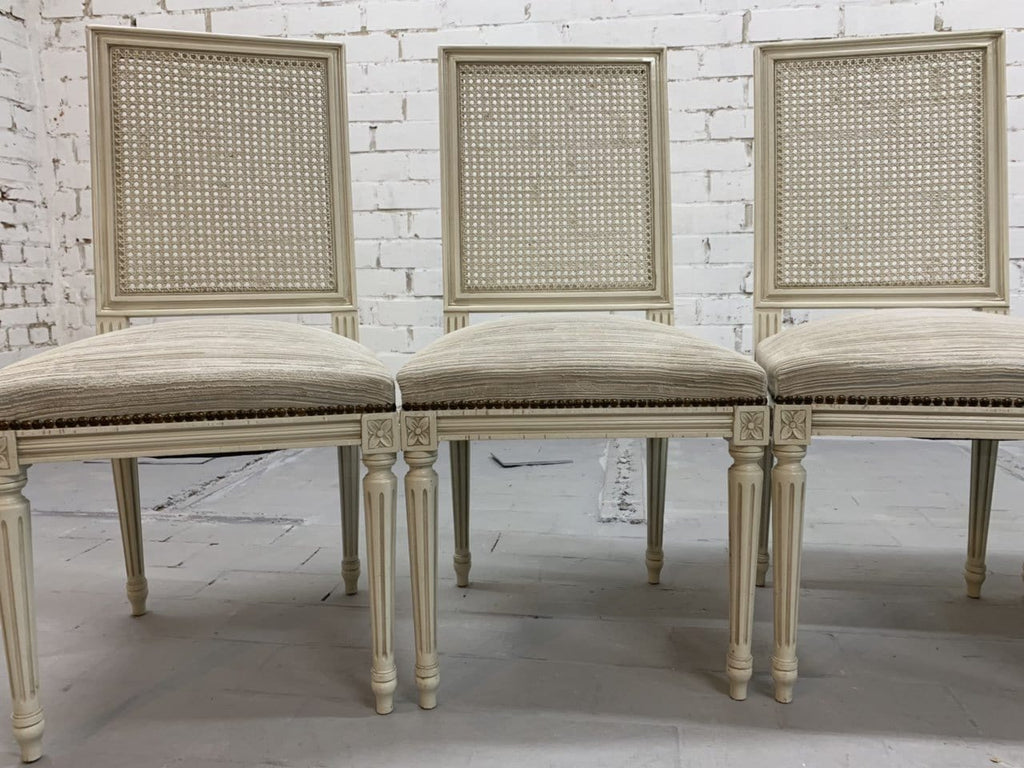 Set of 6 French Vintage Louis XVI Style Cane Back Dining Chairs