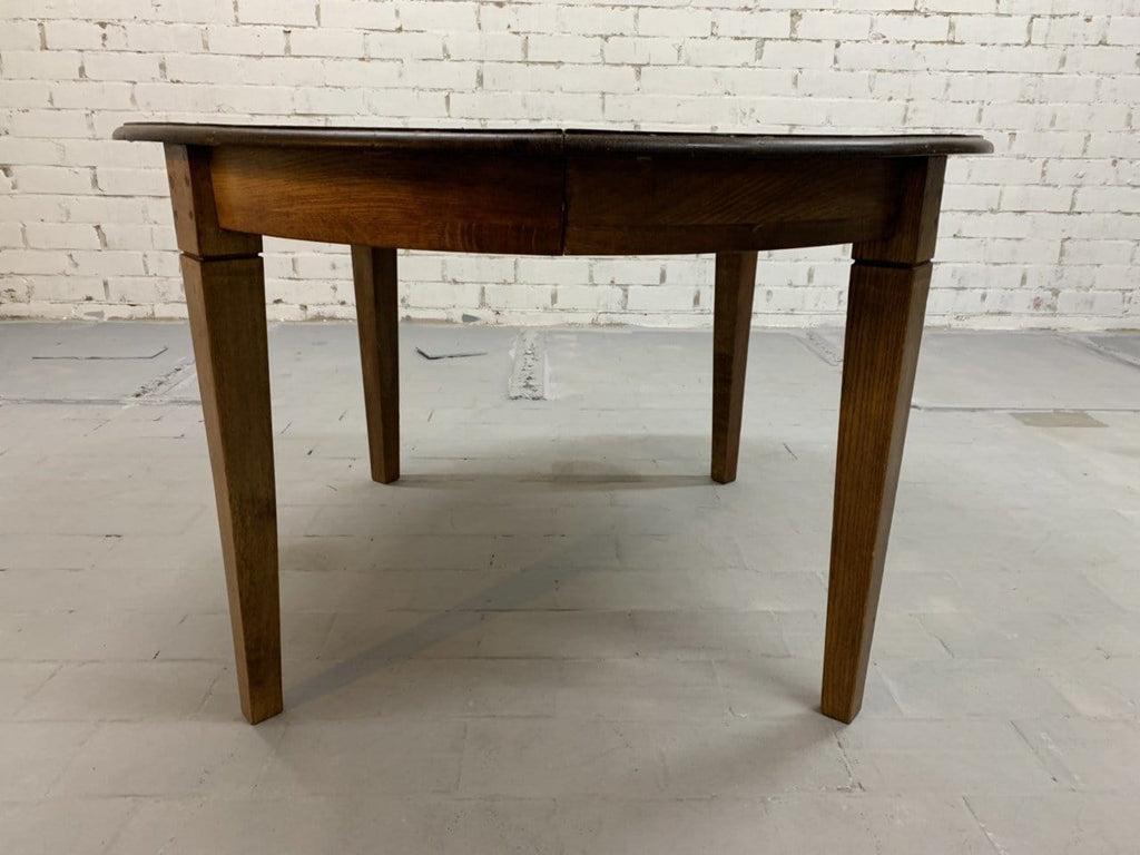 Vintage French Oak Oval Rustic Extension Shaker Leg Dining Table 1950s