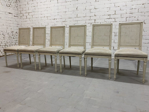 Image of Set of 6 French Vintage Louis XVI Style Cane Back White Dining Chairs