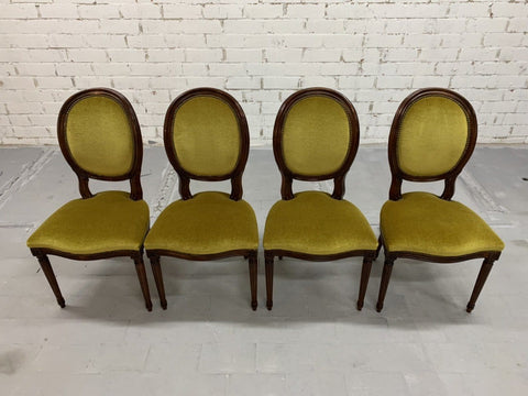 Image of Set of 4 French Louis XVI Style Chartreuse Green Velvet Medallion Dining Chairs