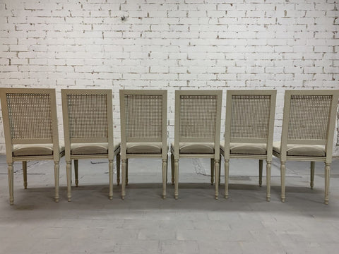 Image of Set of 6 French Vintage Louis XVI Style Cane Back Dining Chairs