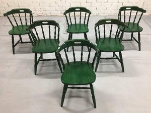 Set of 6 Vintage French Farmhouse Spindleback Dining Chairs Mid-50s