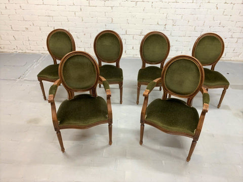 Set of 6 Louis XVI French Medallion Green Velvet Dining Chairs 2 Armchairs 4 Side chairs