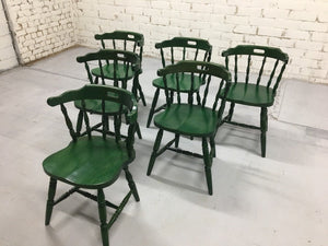 Set of 6 Vintage French bistro Spindleback Mid Century Dining Chairs