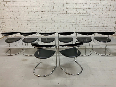 Image of Set of 8 1970s Vintage Italian Unsigned Arrben Designer Dining Chairs
