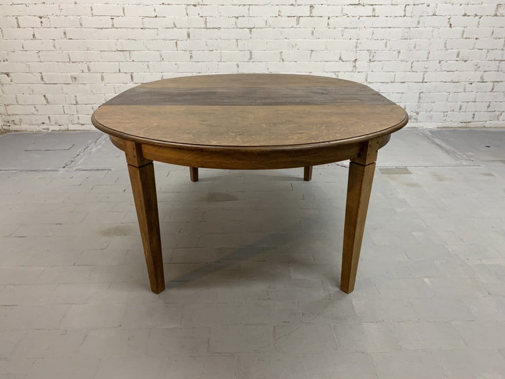 French Oak Oval Rustic Extension Shaker Table 1950s
