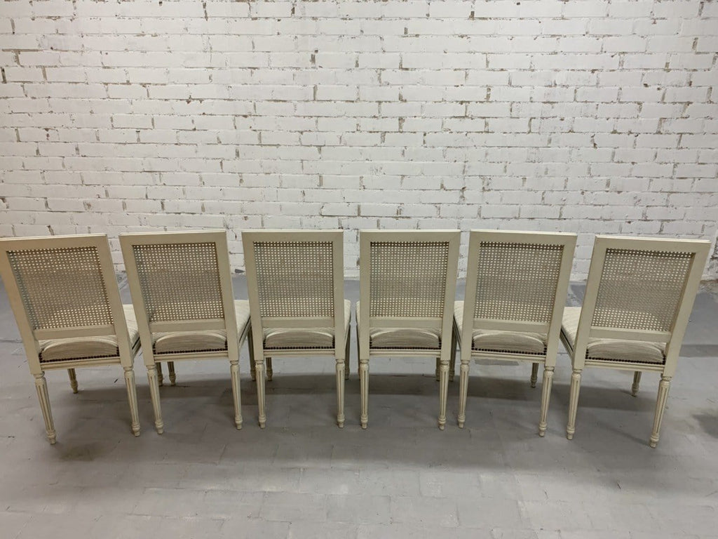 Set of 6 French Vintage Louis XVI Style Cane Back White Dining Chairs