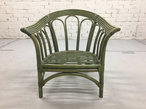 Image of Green Italian Mid-century Green Curved Rattan Armchair