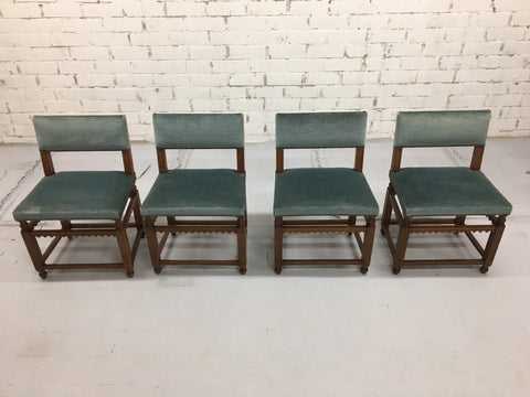 Set of 4 Dutch Vintage Mid-Century Jacobean Style Design Dining Side Chairs