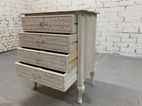Vintage Chic French White 4 Drawer Carved Chest Of Drawers