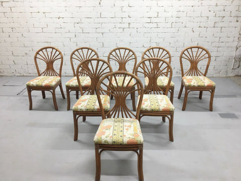 Set of 8 1980s Italian Vintage Bamboo Dining Chairs