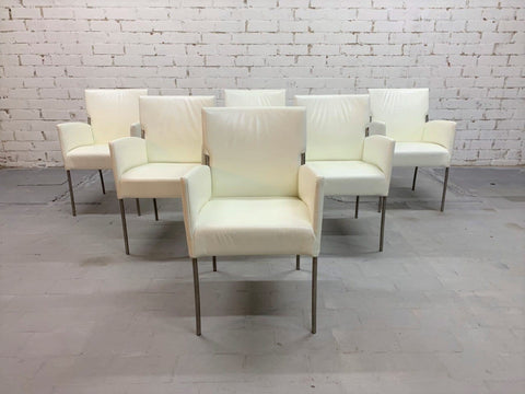 Image of Restored Set of 6 Vintage Italian Creamy White Designer Dining Chairs