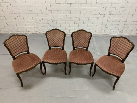 Image of Set of 4 Vintage French Louis XV Style Brick Red Dining Chairs
