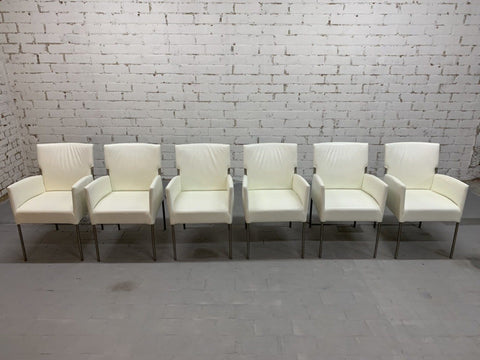 Restored Set of 6 Vintage Italian Creamy White Designer Dining Chairs
