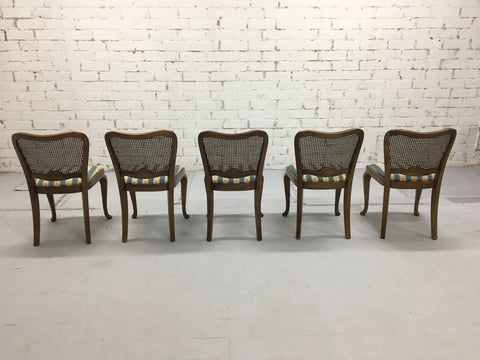 A Very Charming Set of 5 Vintage French Country Louis XV Style Cane Back Dining Chairs Unique