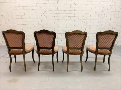 Set of 4 Vintage French Louis XV Style Brick Red Dining Chairs