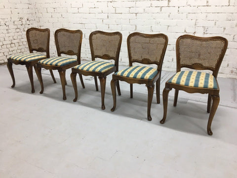 Set of 5 Vintage French Country Louis XV Style Cane Back Dining Chairs