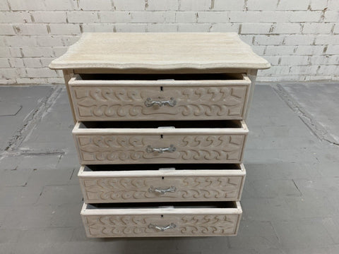 Vintage Chic French 4 Drawer Carved Chest Dresser Painted White