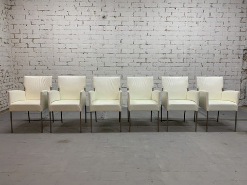 Vintage Italian Creamy White Designer Dining Chairs Restored, Set of 6