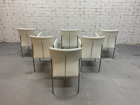 Image of Vintage Italian Creamy White Designer Dining Chairs Restored, Set of 6