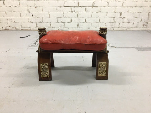 Image of Vintage Egyptian Red Leather Camel Saddle Cushion Stool Bench