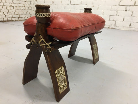 Vintage Egyptian Red Leather Camel Saddle Cushion Stool Bench