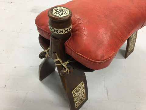 Image of Vintage Moroccan Red Leather Camel Saddle Cushion Stool Bench