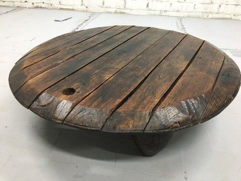Solid Rustic Coffee Table made from Oak Wood Wine Barrel Top