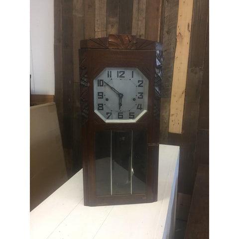 19th century Antique French Tall Oak Clock in Case and Non Working Clock
