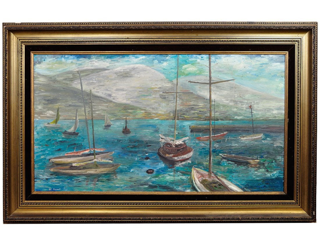 Vintage Oil Painting Impression Landscape Yachts Awesome Baroque Frame