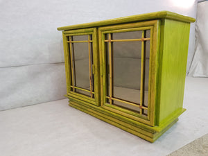 Vintage French Mid Century Green Exotic Tropicalia Pine and Bamboo Sideboard Credenza Buffet Rare Find