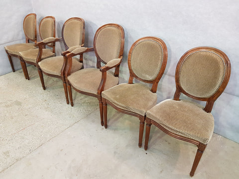Set of Six Louis XVI French Medallion Beige Velvet Dining Chairs Two Armchairs Four Side chairs