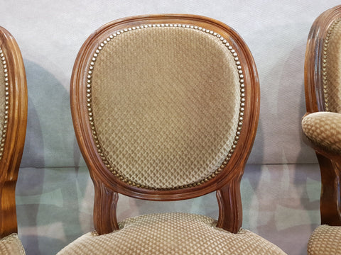 Set of 6 Louis XVI French Medallion Beige Velvet Dining Chairs Two Armchairs Four Side chairs
