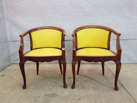 Pair of French Louis XV Style Walnut Barrel Back Yellow Newly Upholstered Boudoir ChairsPair of French Louis XV Style Walnut Barrel Back Yellow Newly Upholstered Boudoir Chairs