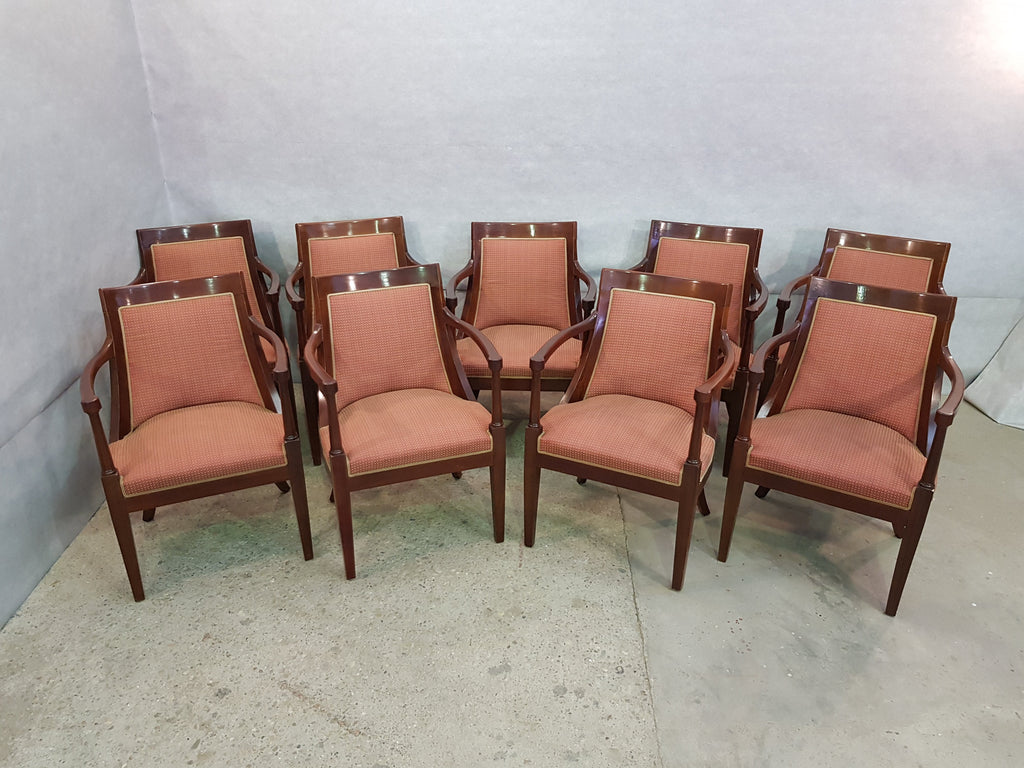 Set of 9 Vintage French Oak Armchairs Metro Florence Style