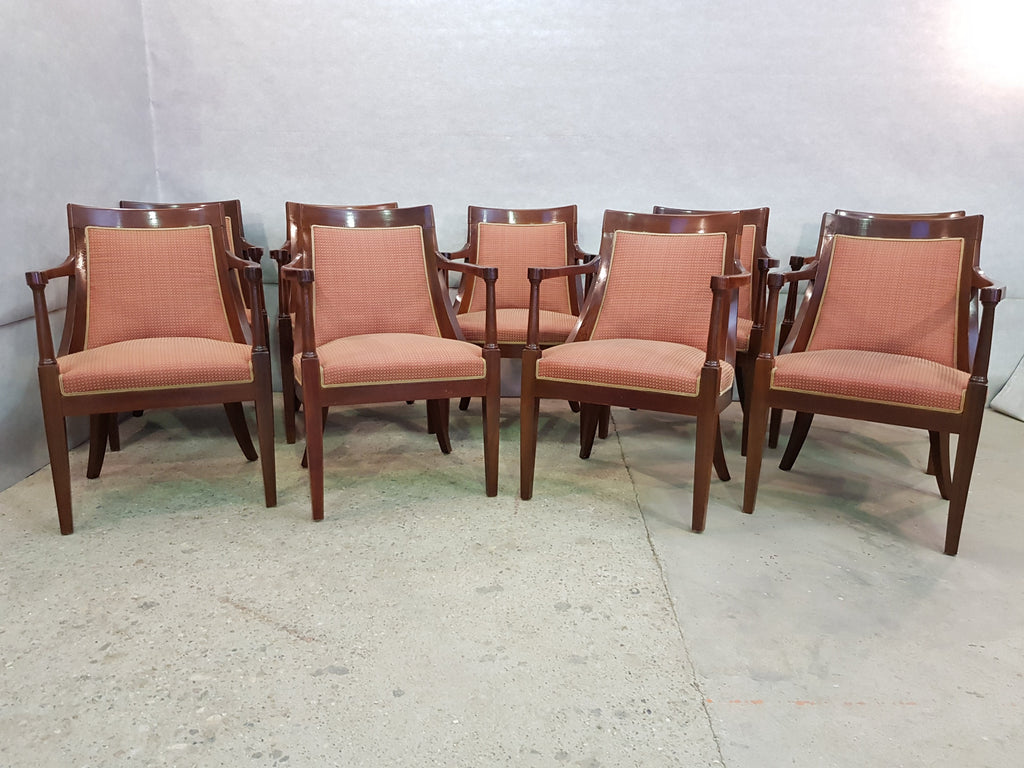 Set of Nine Vintage French Oak Armchairs Very Comfortable Solid and Sturdy