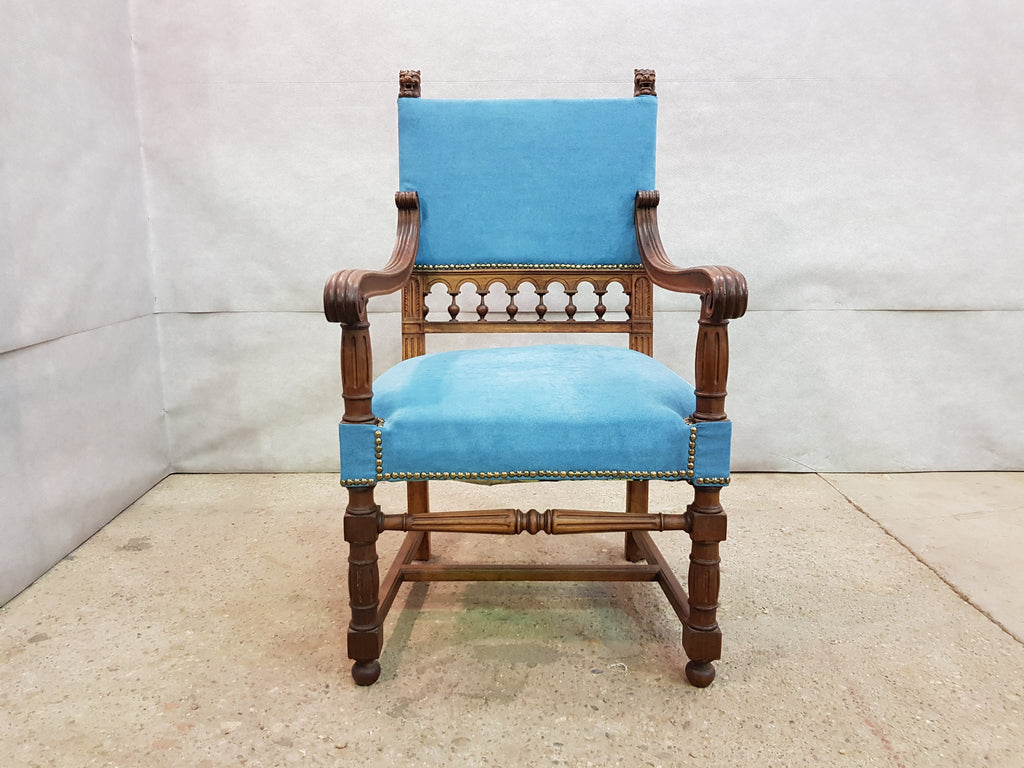 Antique Turquoise Upholstered Carved Oak Louis XIII Jacobean Style Throne Armchair