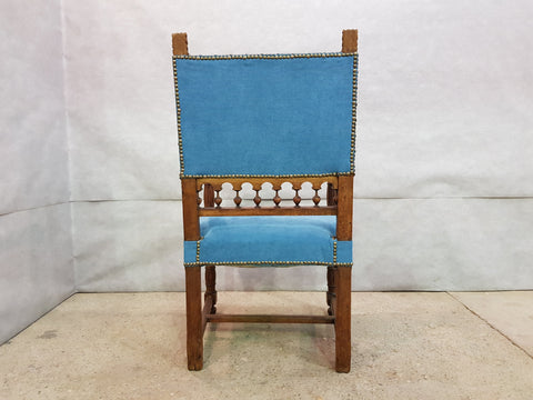 Image of Antique Turquoise Upholstered Carved Oak Louis XIII Jacobean Style Throne Armchair
