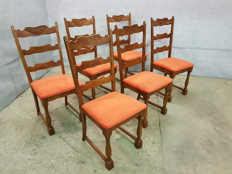 Set of Six Vintage French Newly Upholstered Coral Velvet Ladderback Oak Dining Chairs