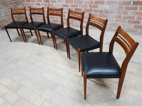 Set of 6 Mid Century Modern Danish Newly Upholstered Faux Leather Dining Chairs