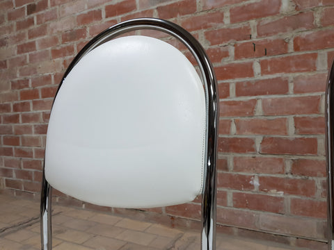 Image of Pair of Contemporary Mid Century Chrome White Vintage Retro Kitchen Side Chairs